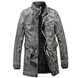 PJK Mens invernale PU Moto Giacca in pelle Spellare lungo cappotto di trincea Giacche Capispalla Uomo Colletto Overcoat , black , xxxl