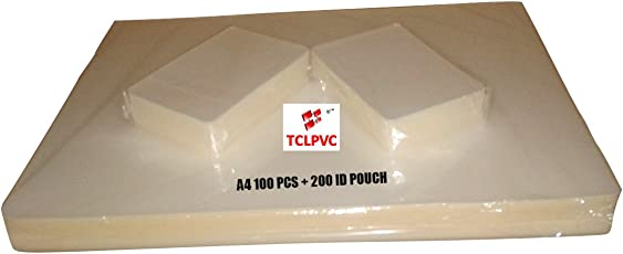 Tclpvc Lamination Paper Pouch Sheet For Laminator Lamination Machine A4 100 Sheets + 200 Pouches Id Card Size Dragon238