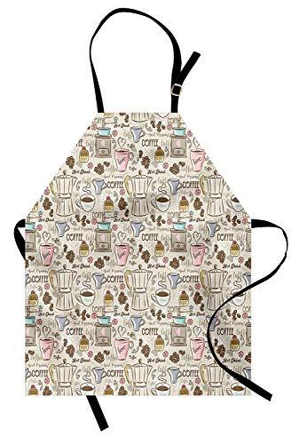 Moderne Schürze, Kaffee-Zeit-Weinlese-Espressomaschinen-Cupcakes-Bohnen-niedlicher Entwurf, Unisexküchen-Latzschürze mit justierbarem Hals für das Kochen des Backens Gartenarbeit, beige blasses Rosa u -