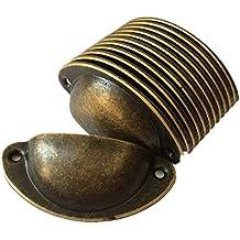 Smart Fun 12pcs Pomelli Vintage Shell Porta Cassetto Armadietto Manopole Ferro Mobili Maniglia Armadio Manopola (Bronzo)