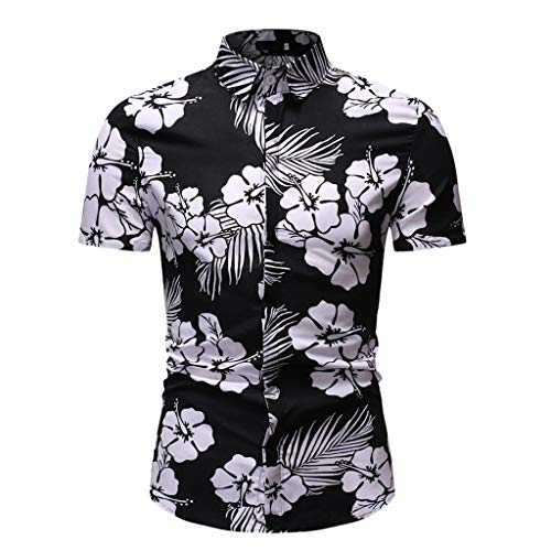 Fascino-M◕‿✦ Herren Hawaiihemd Kurzarm Aloha Freizeit Hemd Button Down Graphic Hemden Strand Shirts M-3XL -