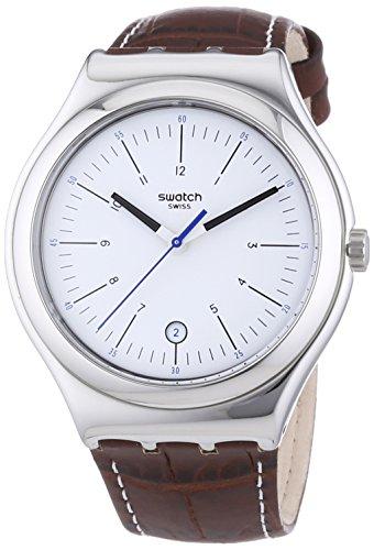 Swatch Irony Big Classic Appia - Reloj Analógico de Cuarzo para Hombre, correa de Cuero color Marrón