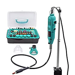 GOXAWEE Rotary Tool Kit, 288Pcs Multi Purpose Rotary Tool Set with 130W Die Grinder, Hold Hanger Stand Clamp, Flexible Drill Shaft and Mixed Accessory Kit for Craft Projects and DIY Creations