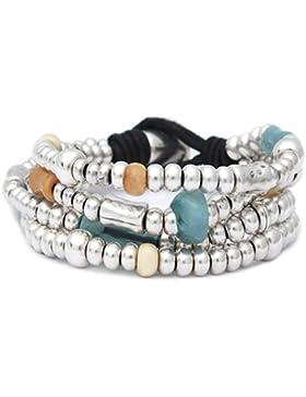 [Gesponsert]Beau Soleil Jewelry Armband Lederarmband mehrreihig mit Türkis, Orange und Silber Buntes Armband aus echtem Leder...