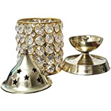 JHI Diwali Pooja Crystal Diya With Cover