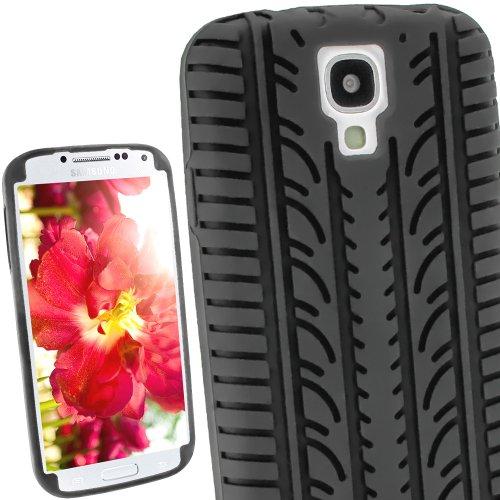 igadgitz Schwarz Silikon Skin Tasche Hülle mit Reifen Profil für Samsung Galaxy S4 IV I9500 Android Smartphone + Display Schutzfolie