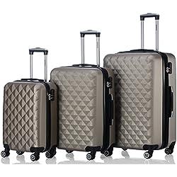 BEIBYE Kofferset 4 Zwillingsrollen Hartschale Trolley Koffer Reisekoffer Reisekofferset Gepäckset in 12 Farben (Champagner)