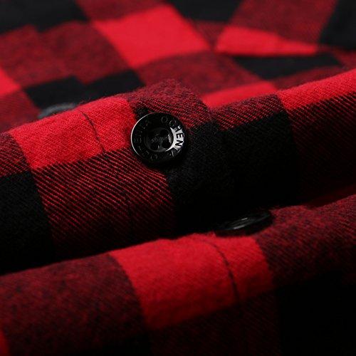 Ochenta Camicia di flanella da donna, lunga, con maniche rimboccabili C056 Red Black