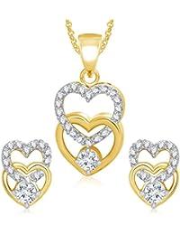 Meenaz Pendant Set For Women & Girls Earrings In American Diamond Gold Plated Cz PT174
