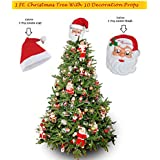 WebelKart® Combo Of 1 FT (12 INCHES) Christmas Tree (Table/Desktop) With 10 Pcs Christmas Decorations(Assorted), 1 Pc Santa Cap & 1 Pc Santa Mask For Kids