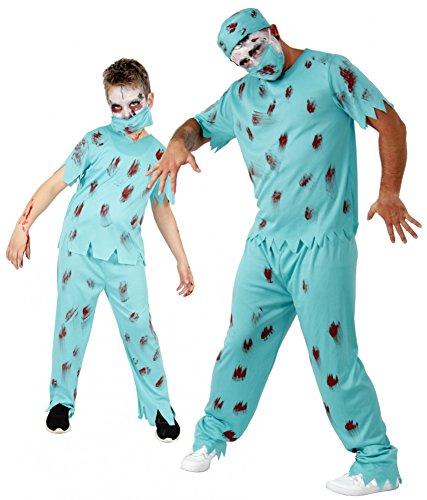 Doktor Kostüm Horror - Foxxeo Zombie Halloween Kostüm für Herren Chirurg Horror Party Arzt Doktor Fasching Karneval Größe XXL