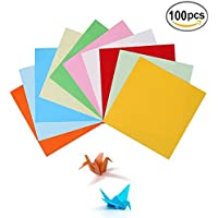 Origami,Papel Origami 100 hojas de doble cara 15CM de papel para decoración de fiesta de inicio de juguete de los niños