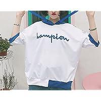 Chandail à Capuche Féminin D'automne en Vrac en Vrac Couleur à la Broderie T-shirt Manches Courtes Europe Et États-unis