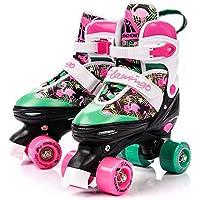 meteor Retro Patines Disco Roler Skate Patines en Paralelo 4 rueadas Quad Skate Patines de Hielo para niños de Adolescentes y Adultos tamaño Ajustable del Zapato (M 35-38, Flamingo)