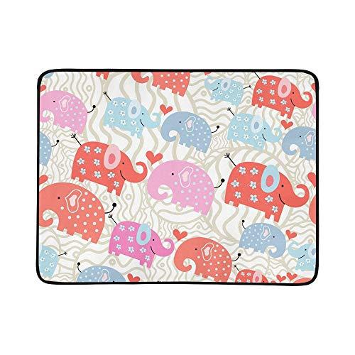 KAOROU Textura Elefantes Guisantes Estera de Manta portátil y Plegable de 60x78...