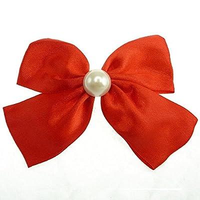 Pince à cheveux noeud papillon perle nacrée satin au choix Rouge Violet Fushia Rose OU Blanche