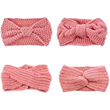 DRESHOW 4 Pack Crochet Knit Turban Headband Warm Bulky Crocheted Head Wrap Diadema Ear Warmer para