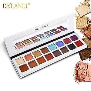 DE'LANCI Maquillage de couleurs 16 couleurs et ombre à paupières, Shimmer & Matte - Collection multicolore hautement pigmentée
