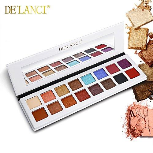 DE'LANCI 16 Farben Lidschatten-Palette, Schimmer & Matte Make-up - Hochpigmentierte Mehrfarben-Kollektion