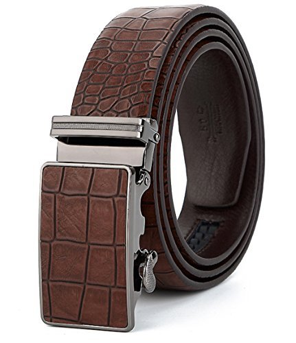 ITIEZY Leather Belt for Men, Classic Brown Black Blue Leather Belts with Automatic Buckle