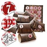 24 kleine Mini-Schachtel Mini-Karton 14,5 x 10,5 cm + 3 cm hoch Holz Optik braun + 24 Aufkleber Adventskalender-Zahlen rot weiß kariert Ø 4 cm Adventskalender basteln befüllen Weihnachten