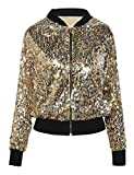 Kayamiya Womens Pailletten Langarm Front Zip Jacket mit Rippen Manschetten XL Gold