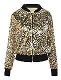 kayamiya Womens Pailletten Langarm Front Zip Jacket mit Rippenbündchen L Gold
