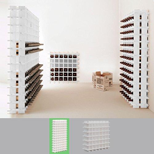 Système d' étagère à vin PRIMAVINO, en bois de pin massif, Blanc, module pour 78 bouteilles, empialble / extensible - H 150 x L 75 x P 22 cm