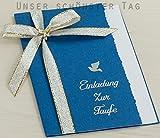 10 x Einladung Einladungskarte Taufe Einladungen blau KT002