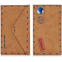 kwmobile Funda fina para Smartphones con Diseño sobre - Funda de piel sintética delgada funda protectora bolso funda en marrón claro - compatible por ej. con Samsung, Apple