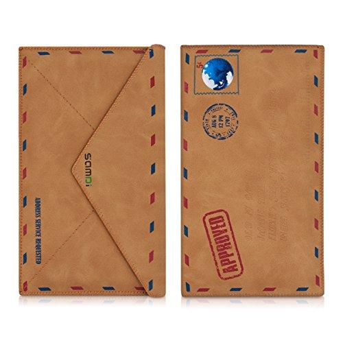 kwmobile Kunstleder Tasche für Smartphones - Handy Cover Case Hülle Slim Schutztasche in Mail Design Hellbraun - 16,5 x 10 cm Innenmaße