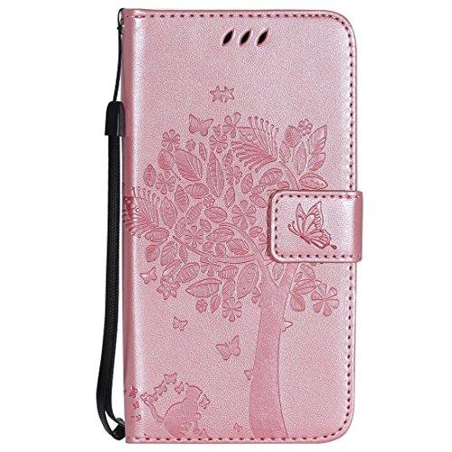 Chreey Huawei Mate 10 Pro Hülle, Prägung [Katze Baum] Muster PU Leder Hülle Flip Case Wallet Cover mit Kartenschlitz Handyhülle Etui Schutztasche [Rose Gold]