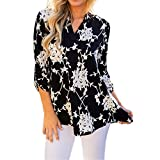 Ulanda-EU Womens Tops Women Clothes Sale Clearance V Neck Floral Printed 3/4 Sleeve High Low Hem Ladies T-Shirts Vest Tank Tops Casual Summer Tunic Tops Blouse Holiday Clothing for Womans (Black, L)