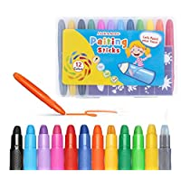 YKLWORLD 12 Colour Face Paint Crayons Body Paint Non-Toxic No Mess Twistable Crayons with 20 Stencils, Great for Children