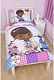 Disney Doc McStuffins Childrens Girls Patch Reversible Duvet Cover Bedding Set (Single Bed) (White)