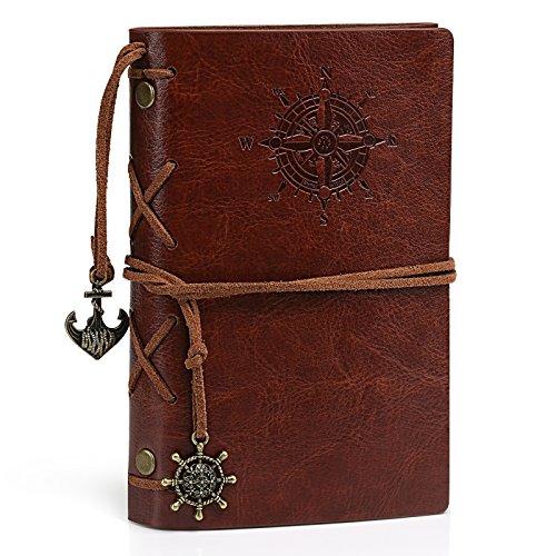 Kesote A7 Tagebuch, Nachfüllbar Vintage Leder Notizbuch Reisetagebuch mit Zusätzlichen 80 Stück Papiers Einschulung Schulanfang (Ruder, Braun, Abnehmbar)