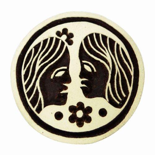 Astrologische Zwillings-Zeichen Holzblock Textildruck Hand geschnitzte Runde Stamp (Astrologische Hand)