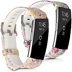 kwmobile2en1: 2 brazalete deportivo para Fitbit Charge 2 en flores topos multicolor rosa fucsia blanco, Flower Power multicolor rosa fucsia blanco Dimensiones interiores: approx. 17 - 23 cm - Brazalete de silicona con cierre de reloj sin tracker