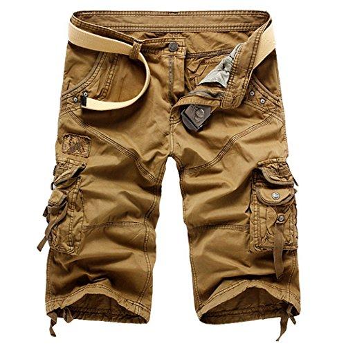 Panegy Herren Jungen Causal Baumwolle Cargo Shorts Cargohose 3/4 Pants mit Gürtel - Khaki Inch Größe W29