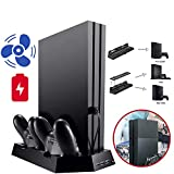 Leoie Chargers for PS4 Pro Slim Stand Vertical Cooling Controller Charger Charging Station Dock