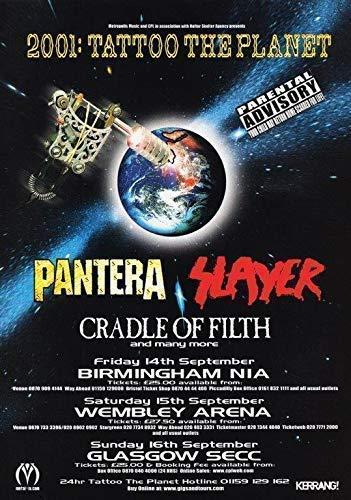 Sconosciuto tatuaggio the planet uk tour 2001 pantera slayer poster stampa dimebag t-shirt 1 (a5-a4-a3) - a5