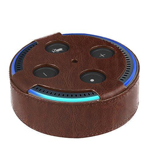 Fintie Amazon Echo Dot Hülle (nur für Echo Dot 2. Generation geeignet), Premium Kunstleder Schutzhülle Case Cover Tasche für Amazon All-New Echo Dot (2nd Generation), Brown Dots Case Cover