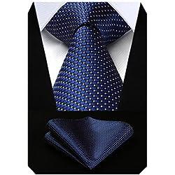 Hisdern Extra Long Check Krawatte Taschentuch Herren Krawatte & Einstecktuch Set Marineblau und Pink