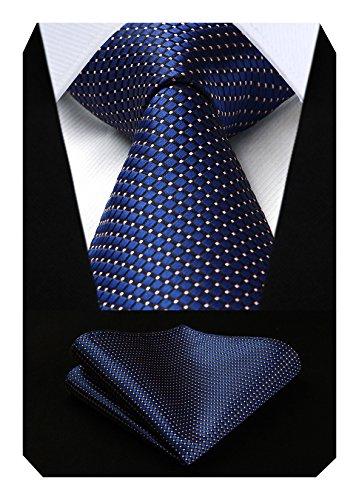 Hisdern Herren Krawatte Taschentuch Check Krawatte & Einstecktuch Set Navy blau & Rosa