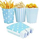 Czemo Scatole di Popcorn 36pcs Pop Corn Box Contenitori di Popcorn Contenitori di Caramelle per Spuntini del Partito,Blu