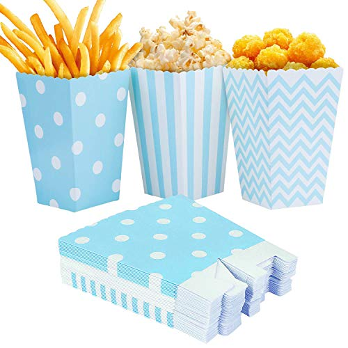 Czemo Popcorn Tüten Papertüte Popcorn-Boxen für Party Snacks, Süßigkeiten, Popcorn und Geschenke, 36 Stück (Blau) (Kleine Popcorn-boxen)