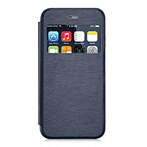 iPhone 6 Case, Johncase Apple iPhone 6 Flip Case + Screen Protector [Book Style] Silk Pattern PU Leather with Touchable Clear Window [Drop Protection and Foldable Kickstand ] Durable Wallet Case for iphone 6. (Blue)
