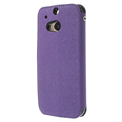Handy Schutz in Perfektion | Ultra Slim Premium Handy Flip Case Cover Klapp Leder Tasche Schutz Hülle Etui Bumper mit Fenster aus hochwertigem Kunstleder mit Silikon Innen Schale Original Roar Fancy C Lila