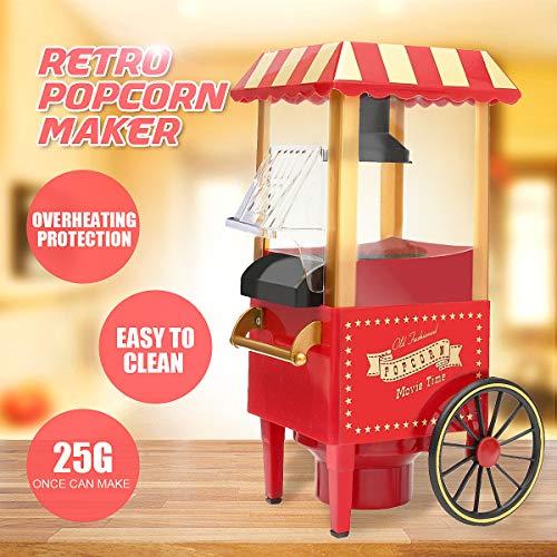 PDXGZ Popcorn Maschine  1200W Retro Popcorn Maker   Heissluft Ohne Fett Fettfrei Ölfrei, Eine-Taste-Operation, Kein Öl Benötigt Frisches Gesundes Popcorn, Rot