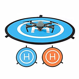 """MyArmor 30""""/75cm Diameter Waterproof Fast-Fold RC Helicopter Landing Pad Helipad 2 Sides for RC Drones Helicopter DJI Mavic Pro, Phantom 2/3/4/4 Pro, Inspire 2/1, 3DR Solo, Parrot, Antel Robotic, Syma, Hubsan, Holy Stone, UDI, Blue & Orange from MyArmor"""